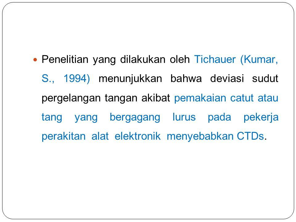 Penelitian yang dilakukan oleh Tichauer (Kumar, S., 1994) menunjukkan bahwa deviasi sudut pergelangan tangan akibat pemakaian catut atau tang yang ber