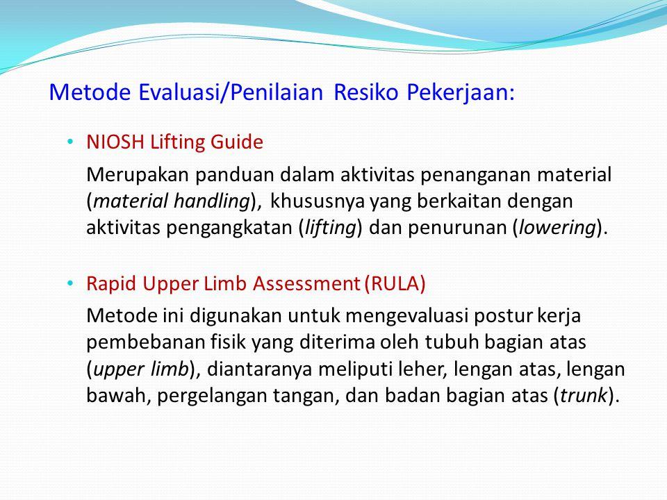 Faktor-faktor Resiko terkait Permasalahan MSDs (hand & wrist): Masalah postur kerja yang tidak normal Pekerjaan yang berulang (repetitif) Durasi kerja
