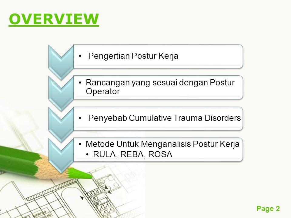Page 2 OVERVIEW Pengertian Postur Kerja Rancangan yang sesuai dengan Postur Operator Penyebab Cumulative Trauma Disorders Metode Untuk Menganalisis Postur Kerja RULA, REBA, ROSA