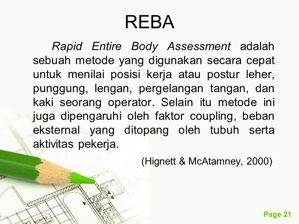Page 21 REBA Rapid Entire Body Assessment adalah sebuah metode yang digunakan secara cepat untuk menilai posisi kerja atau postur leher, punggung, lengan, pergelangan tangan, dan kaki seorang operator.