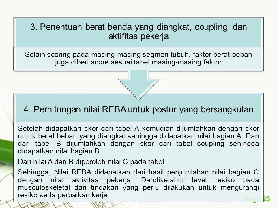 Page 23 4. Perhitungan nilai REBA untuk postur yang bersangkutan Setelah didapatkan skor dari tabel A kemudian dijumlahkan dengan skor untuk berat beb
