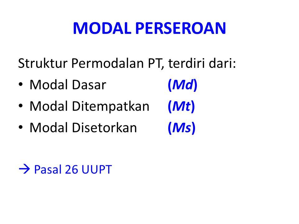 MODAL PERSEROAN Struktur Permodalan PT, terdiri dari: Modal Dasar (Md) Modal Ditempatkan (Mt) Modal Disetorkan (Ms)  Pasal 26 UUPT