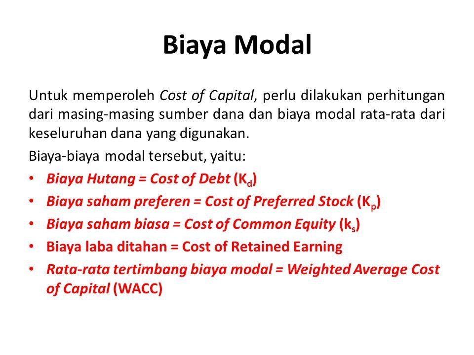Biaya Modal Untuk memperoleh Cost of Capital, perlu dilakukan perhitungan dari masing-masing sumber dana dan biaya modal rata-rata dari keseluruhan da