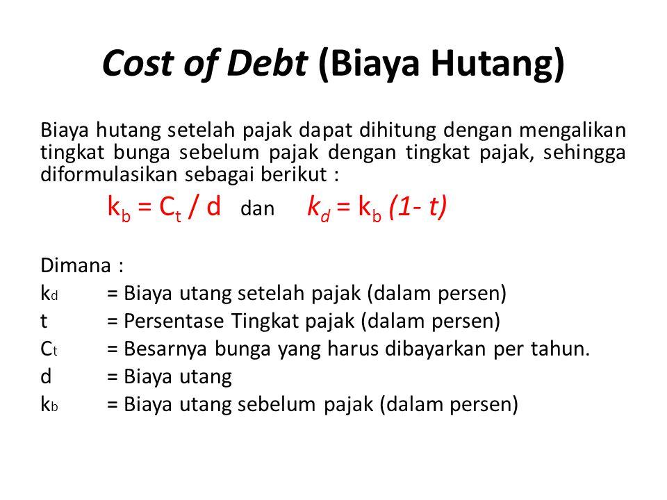 Cost of Debt (Biaya Hutang) Biaya hutang setelah pajak dapat dihitung dengan mengalikan tingkat bunga sebelum pajak dengan tingkat pajak, sehingga dif