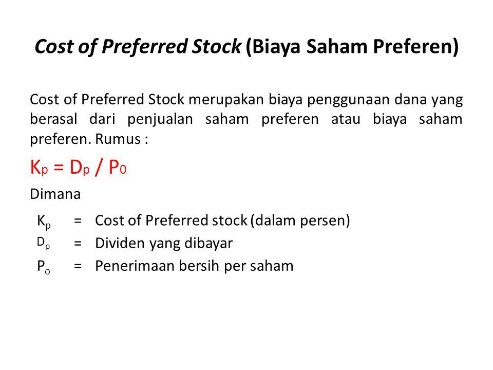 Cost of Preferred Stock (Biaya Saham Preferen) Cost of Preferred Stock merupakan biaya penggunaan dana yang berasal dari penjualan saham preferen atau