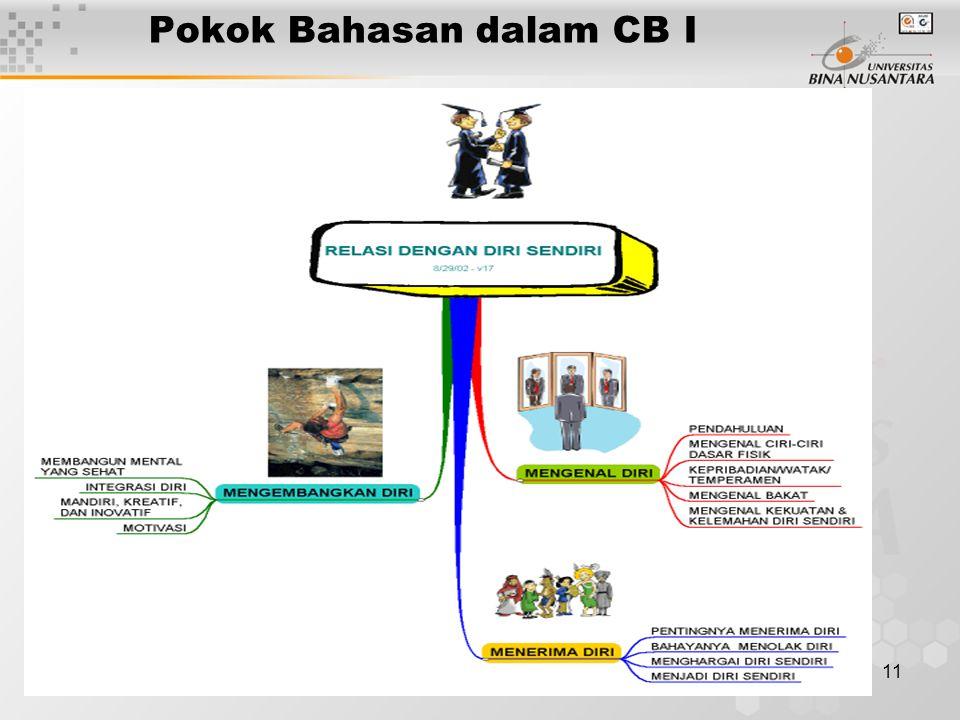 """10 Setelah mengetahui gambaran secara keseluruhan tentang matakuliah CB di UBiNus maka pokok pendalaman selanjutnya adalah isi dari CB I yaitu """"Relasi"""