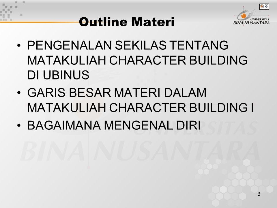 3 Outline Materi PENGENALAN SEKILAS TENTANG MATAKULIAH CHARACTER BUILDING DI UBINUS GARIS BESAR MATERI DALAM MATAKULIAH CHARACTER BUILDING I BAGAIMANA MENGENAL DIRI
