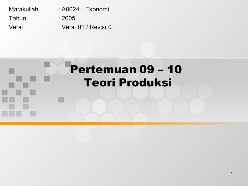 1 Pertemuan 09 – 10 Teori Produksi Matakuliah: A0024 - Ekonomi Tahun: 2005 Versi: Versi 01 / Revisi 0