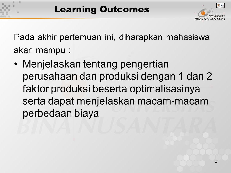2 Learning Outcomes Pada akhir pertemuan ini, diharapkan mahasiswa akan mampu : Menjelaskan tentang pengertian perusahaan dan produksi dengan 1 dan 2 faktor produksi beserta optimalisasinya serta dapat menjelaskan macam-macam perbedaan biaya