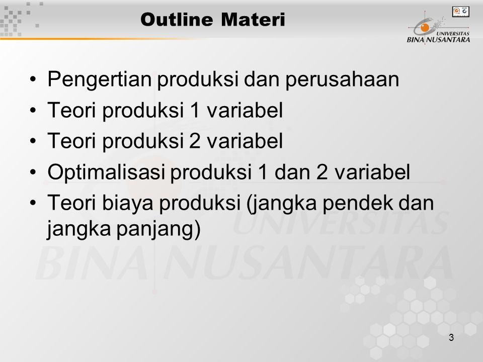 3 Outline Materi Pengertian produksi dan perusahaan Teori produksi 1 variabel Teori produksi 2 variabel Optimalisasi produksi 1 dan 2 variabel Teori biaya produksi (jangka pendek dan jangka panjang)