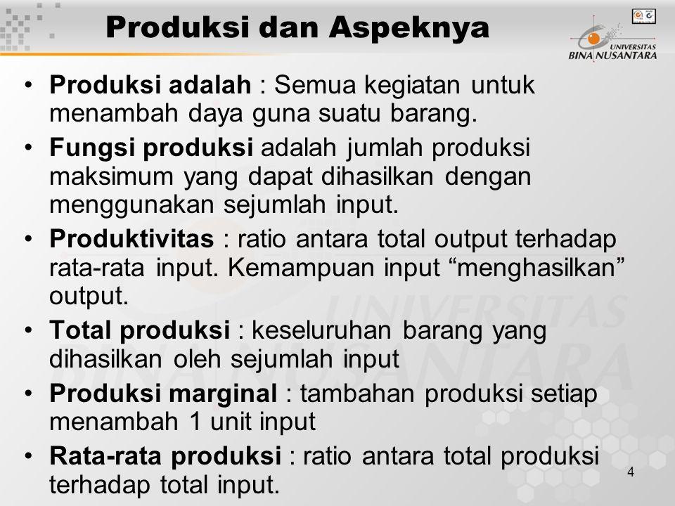 34 > Produksi bukan sekedar menghasilkan, akan tetapi menambah nilai guna atas suatu barang atau jasa Perusahaan adalah organisasi yang memiliki fungsi utama menambah nilai guna dari barang atau jasa secara efisien Optimalisasi produksi tercapai bila dana telah maksimum untuk menghasilkan dengan biaya yang paling efisien