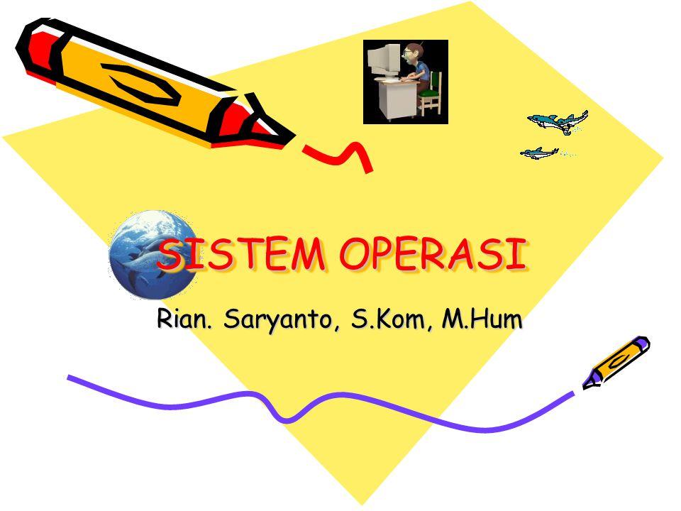SISTEM OPERASI Rian. Saryanto, S.Kom, M.Hum