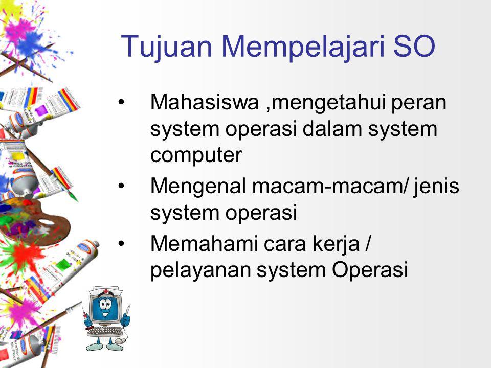 Tujuan Mempelajari SO Mahasiswa,mengetahui peran system operasi dalam system computer Mengenal macam-macam/ jenis system operasi Memahami cara kerja /