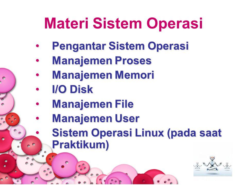 Materi Sistem Operasi Pengantar Sistem OperasiPengantar Sistem Operasi Manajemen ProsesManajemen Proses Manajemen MemoriManajemen Memori I/O DiskI/O D