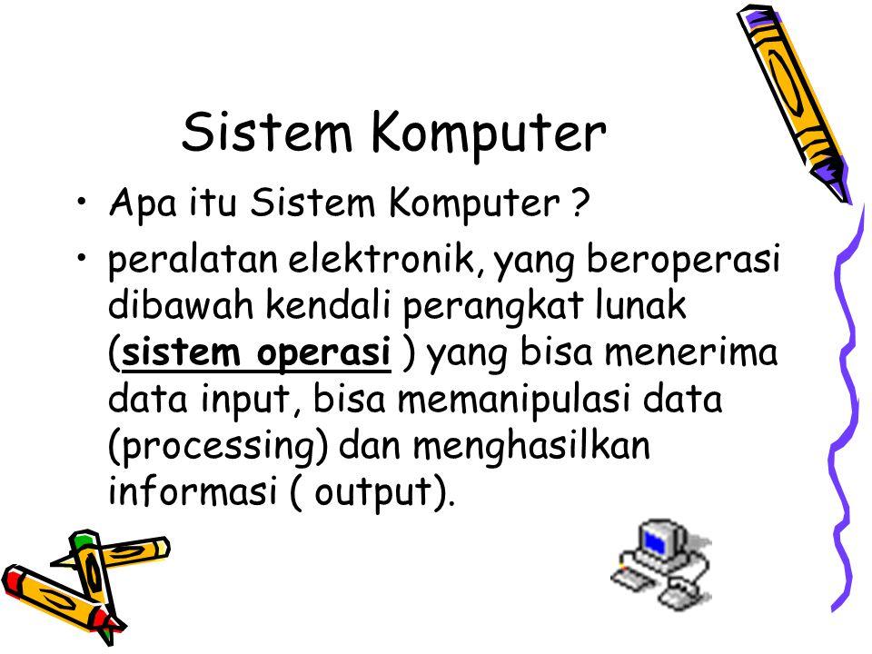 Sistem Komputer Apa itu Sistem Komputer ? peralatan elektronik, yang beroperasi dibawah kendali perangkat lunak (sistem operasi ) yang bisa menerima d