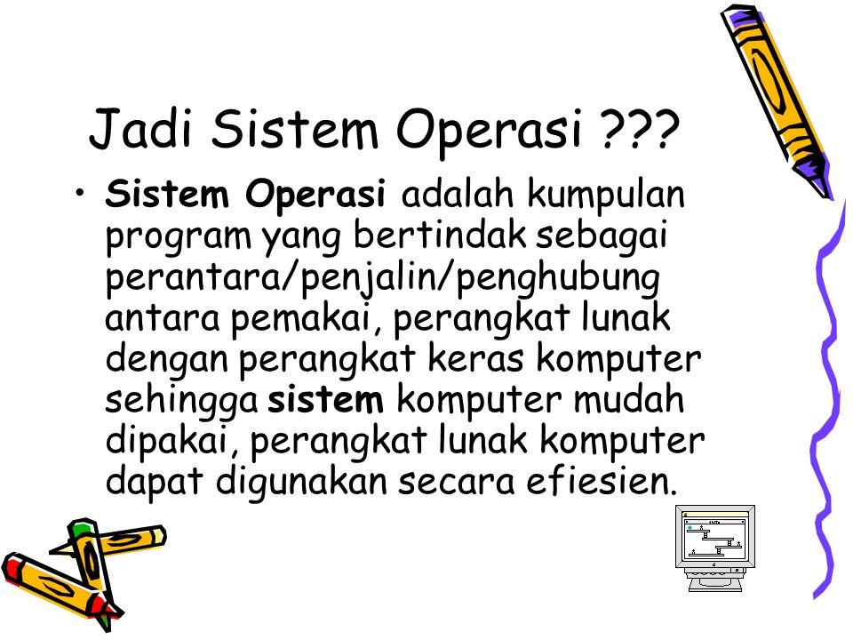 Jadi Sistem Operasi ??? Sistem Operasi adalah kumpulan program yang bertindak sebagai perantara/penjalin/penghubung antara pemakai, perangkat lunak de