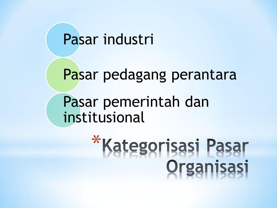 Pasar industri Pasar pedagang perantara Pasar pemerintah dan institusional