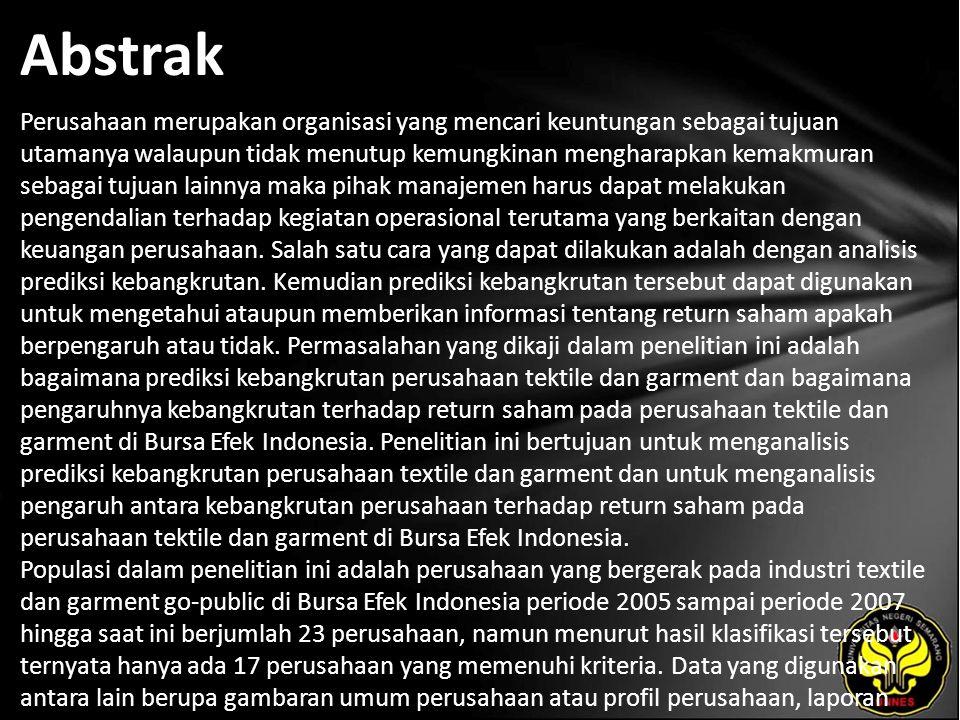 Kata Kunci Kebangkrutan, Z-Score, Return Saham