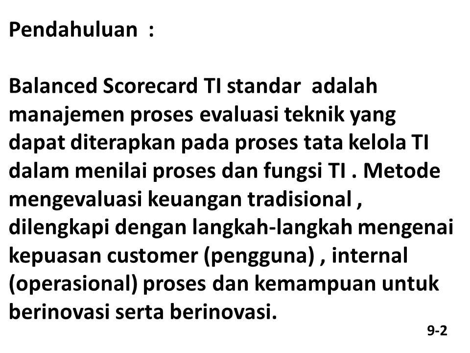 Pendahuluan : Balanced Scorecard TI standar adalah manajemen proses evaluasi teknik yang dapat diterapkan pada proses tata kelola TI dalam menilai proses dan fungsi TI.