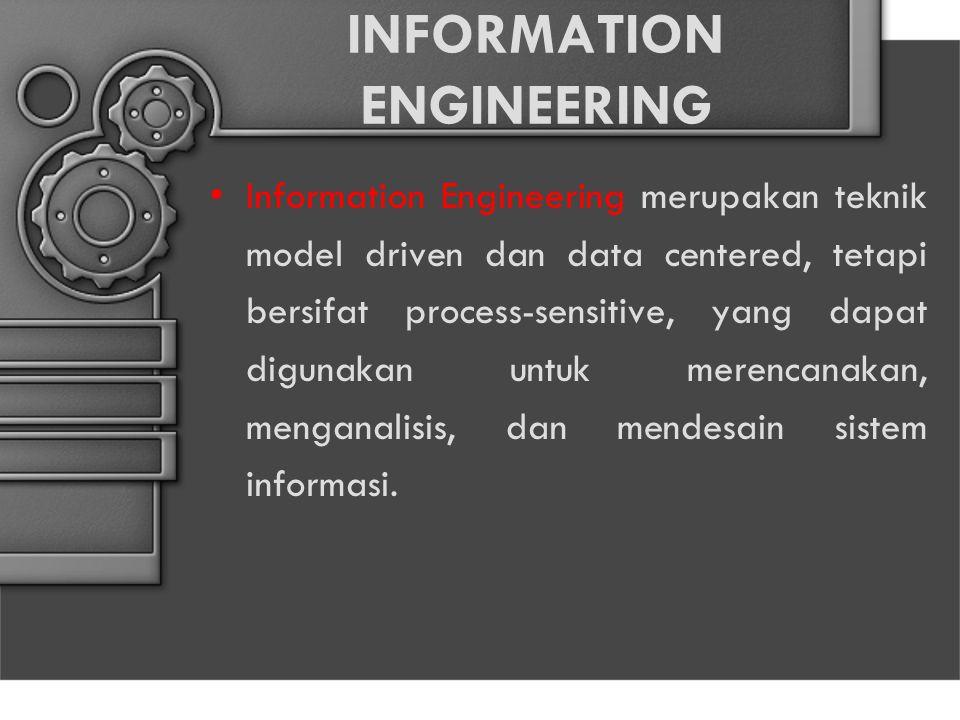 INFORMATION ENGINEERING Information Engineering merupakan teknik model driven dan data centered, tetapi bersifat process-sensitive, yang dapat digunakan untuk merencanakan, menganalisis, dan mendesain sistem informasi.
