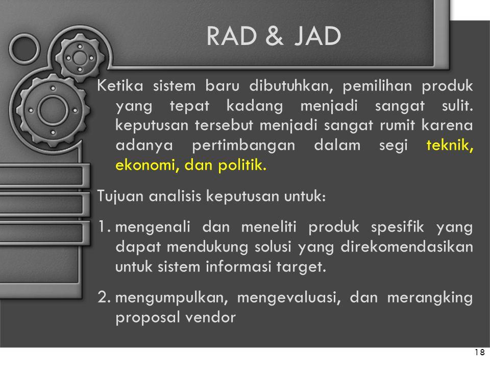 RAD & JAD Ketika sistem baru dibutuhkan, pemilihan produk yang tepat kadang menjadi sangat sulit. keputusan tersebut menjadi sangat rumit karena adany