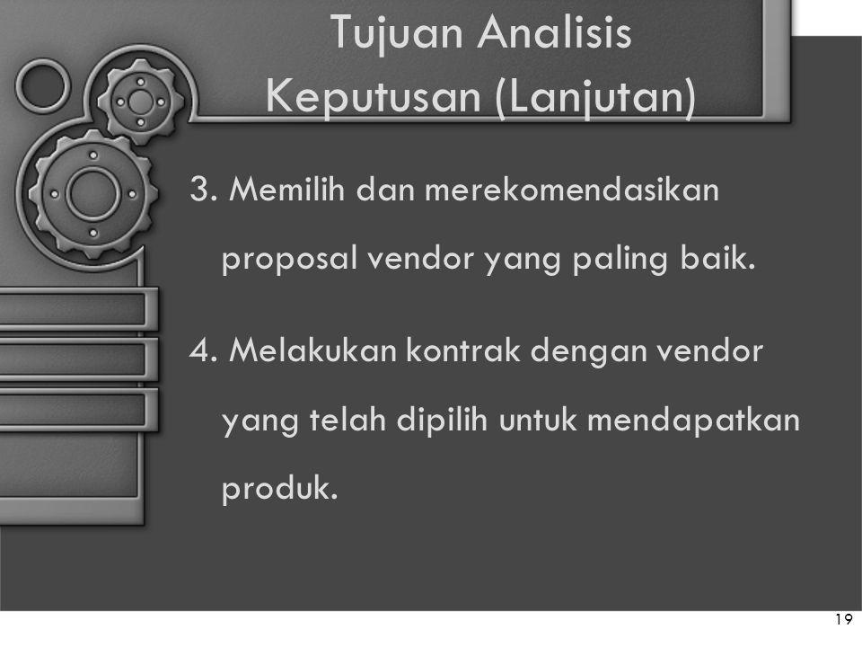 Tujuan Analisis Keputusan (Lanjutan) 3. Memilih dan merekomendasikan proposal vendor yang paling baik. 4. Melakukan kontrak dengan vendor yang telah d