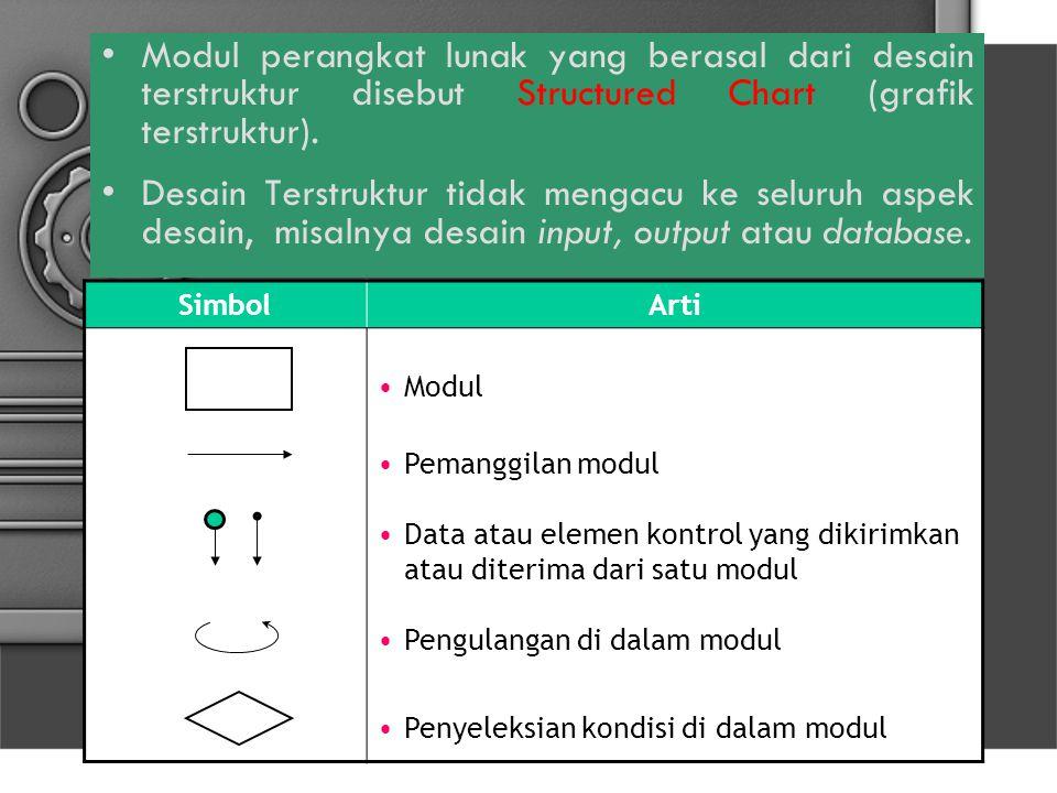 Modul perangkat lunak yang berasal dari desain terstruktur disebut Structured Chart (grafik terstruktur). Desain Terstruktur tidak mengacu ke seluruh