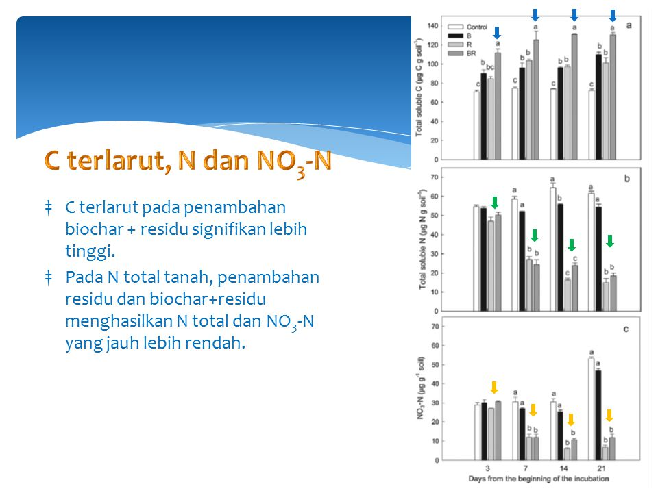 ‡C terlarut pada penambahan biochar + residu signifikan lebih tinggi.