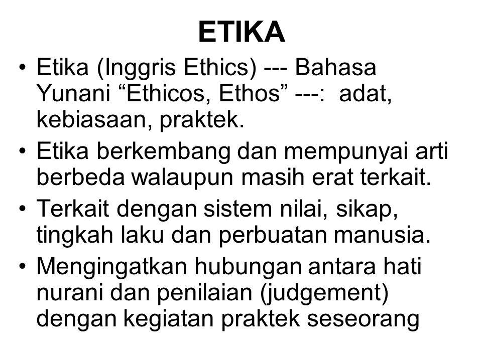 Etika (Inggris Ethics) --- Bahasa Yunani Ethicos, Ethos ---: adat, kebiasaan, praktek.