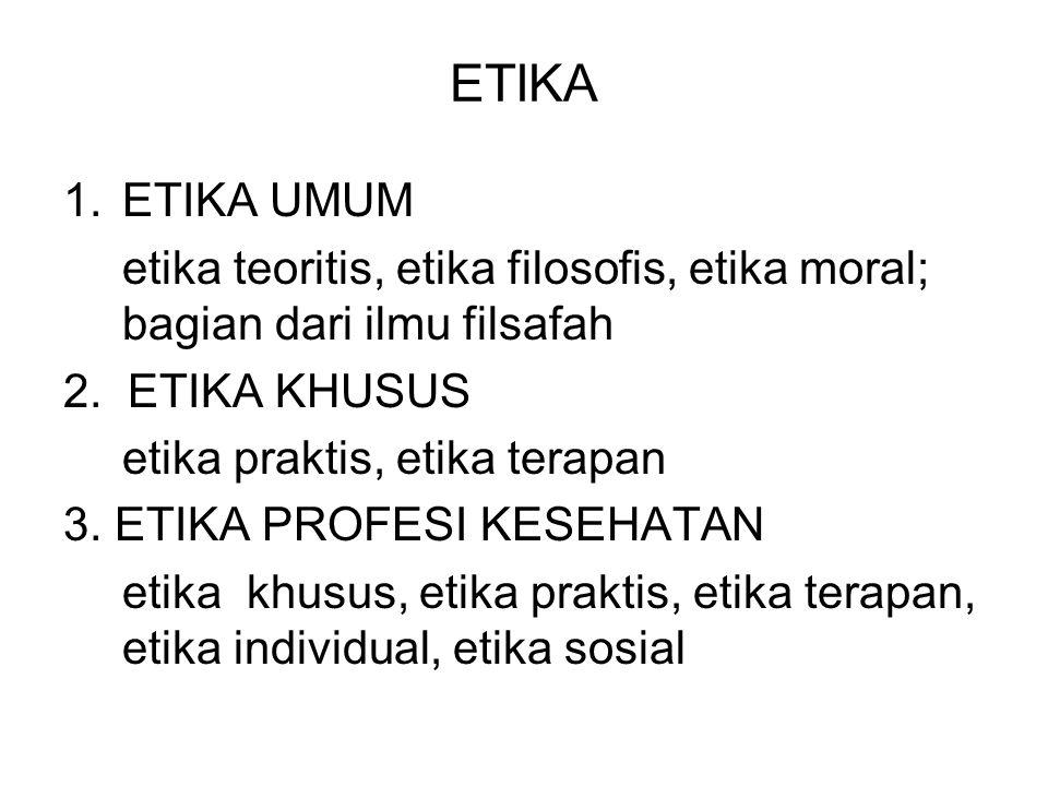 ETIKA 1.ETIKA UMUM etika teoritis, etika filosofis, etika moral; bagian dari ilmu filsafah 2. ETIKA KHUSUS etika praktis, etika terapan 3. ETIKA PROFE