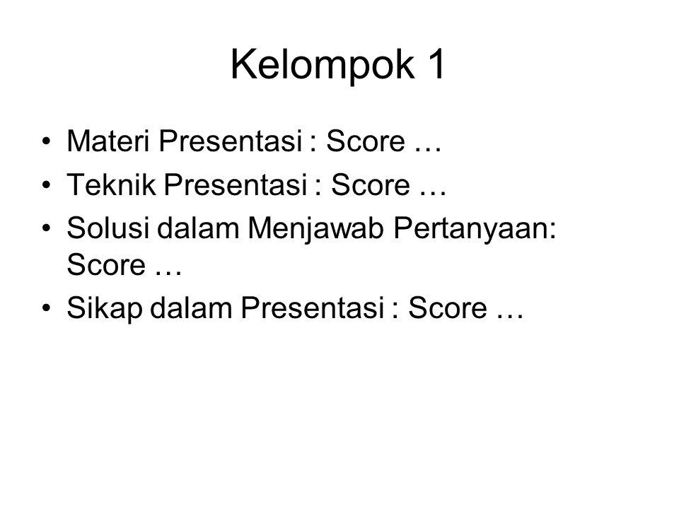 Kelompok 1 Materi Presentasi : Score … Teknik Presentasi : Score … Solusi dalam Menjawab Pertanyaan: Score … Sikap dalam Presentasi : Score …
