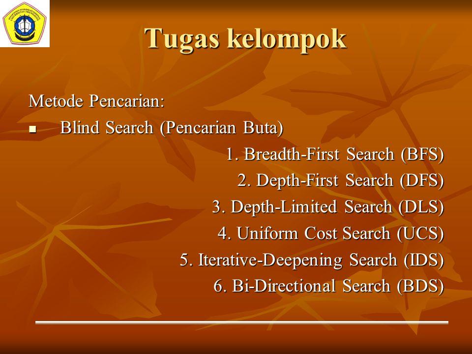 Tugas kelompok Metode Pencarian: Blind Search (Pencarian Buta) Blind Search (Pencarian Buta) 1. Breadth-First Search (BFS) 1. Breadth-First Search (BF