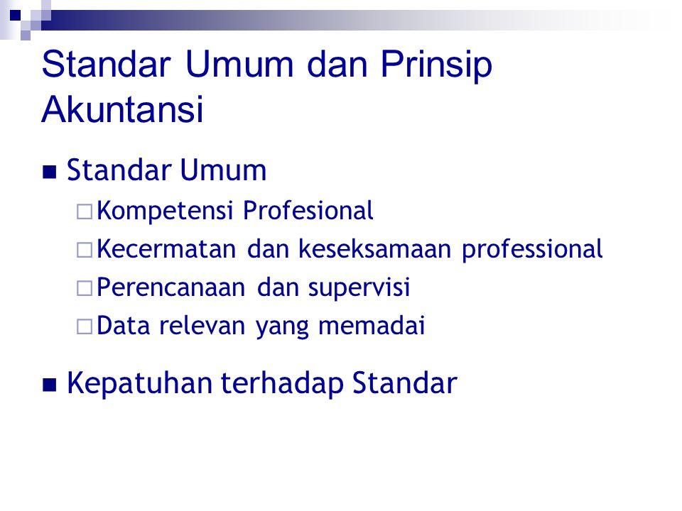 Standar Umum dan Prinsip Akuntansi Standar Umum  Kompetensi Profesional  Kecermatan dan keseksamaan professional  Perencanaan dan supervisi  Data