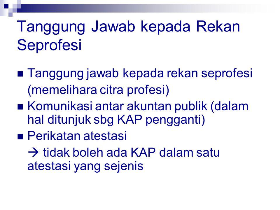 Tanggung Jawab kepada Rekan Seprofesi Tanggung jawab kepada rekan seprofesi (memelihara citra profesi) Komunikasi antar akuntan publik (dalam hal ditu