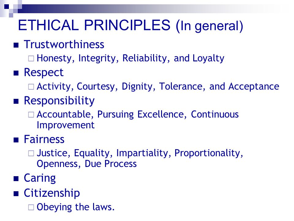 ETHICAL PRINCIPLES of CPA 1.Responsibilities 2.The Public Interests 3.Integrity 4.Objective and Independence 5.Due Care 6.Scope and Nature of Services