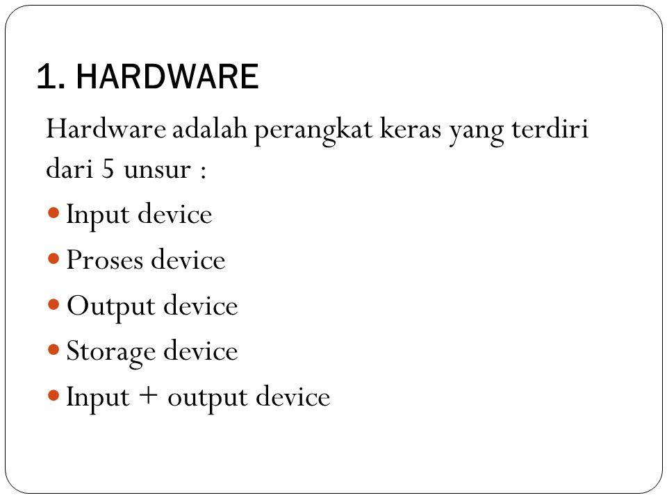 1. HARDWARE Hardware adalah perangkat keras yang terdiri dari 5 unsur : Input device Proses device Output device Storage device Input + output device