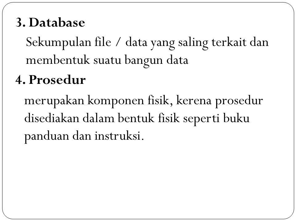 3. Database Sekumpulan file / data yang saling terkait dan membentuk suatu bangun data 4. Prosedur merupakan komponen fisik, kerena prosedur disediaka