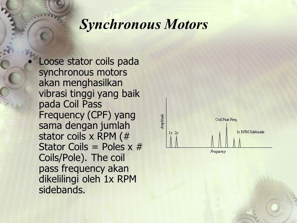 Synchronous Motors Loose stator coils pada synchronous motors akan menghasilkan vibrasi tinggi yang baik pada Coil Pass Frequency (CPF) yang sama deng