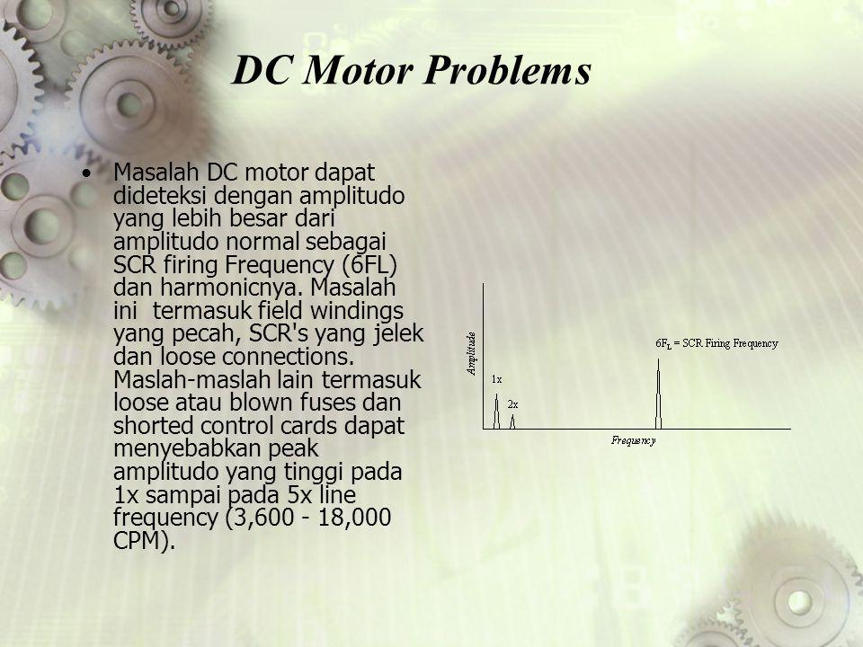 DC Motor Problems Masalah DC motor dapat dideteksi dengan amplitudo yang lebih besar dari amplitudo normal sebagai SCR firing Frequency (6FL) dan harm