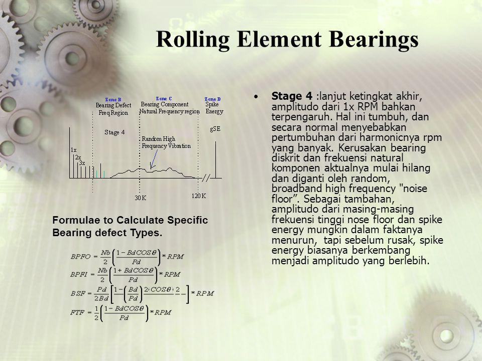 Rolling Element Bearings Stage 4 :lanjut ketingkat akhir, amplitudo dari 1x RPM bahkan terpengaruh. Hal ini tumbuh, dan secara normal menyebabkan pert
