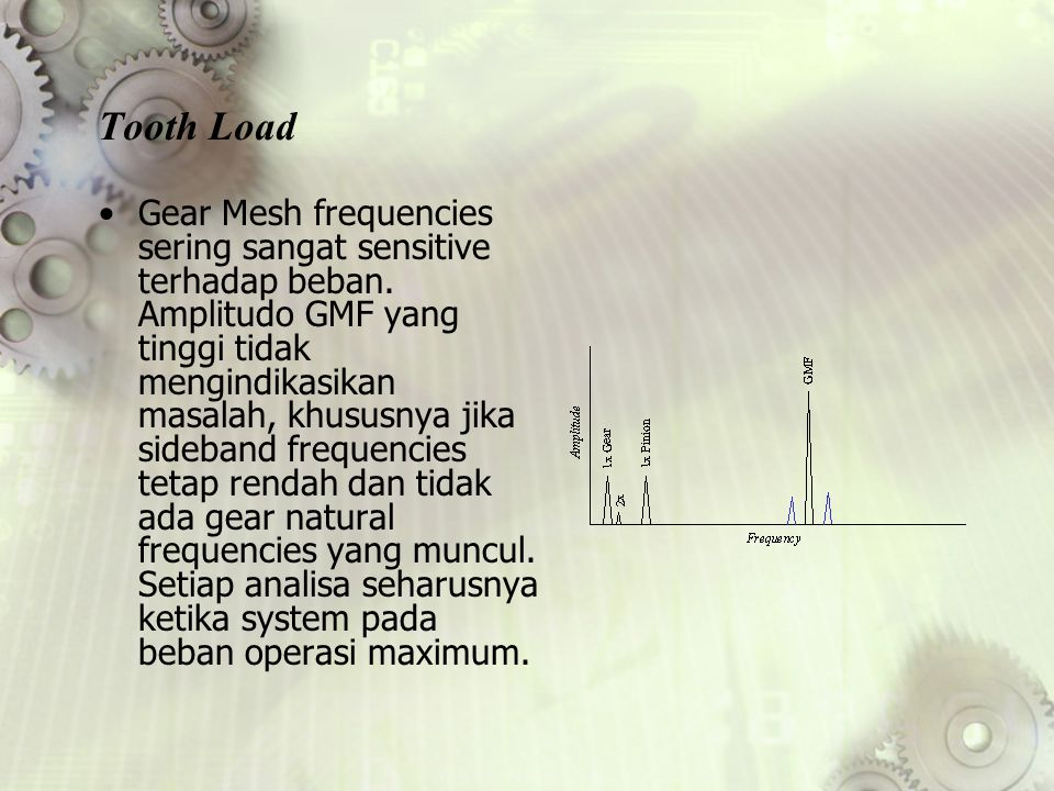Tooth Load Gear Mesh frequencies sering sangat sensitive terhadap beban.