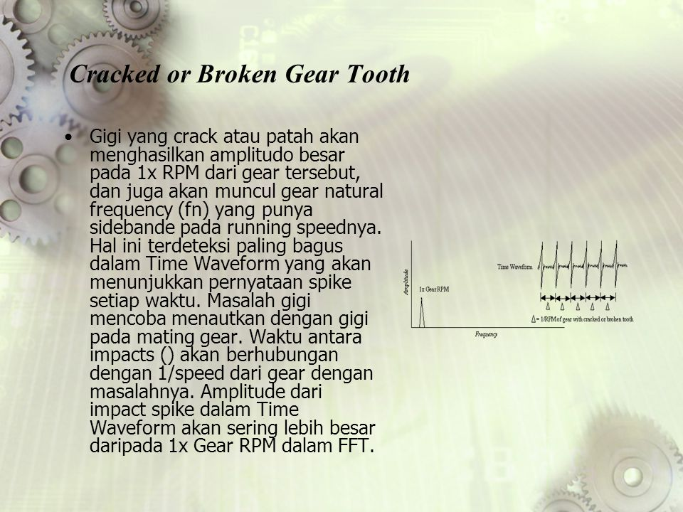 Cracked or Broken Gear Tooth Gigi yang crack atau patah akan menghasilkan amplitudo besar pada 1x RPM dari gear tersebut, dan juga akan muncul gear na
