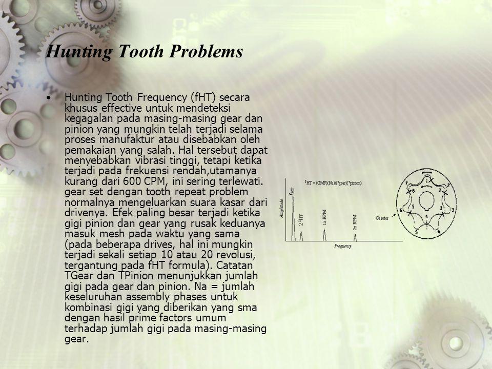 Hunting Tooth Problems Hunting Tooth Frequency (fHT) secara khusus effective untuk mendeteksi kegagalan pada masing-masing gear dan pinion yang mungki