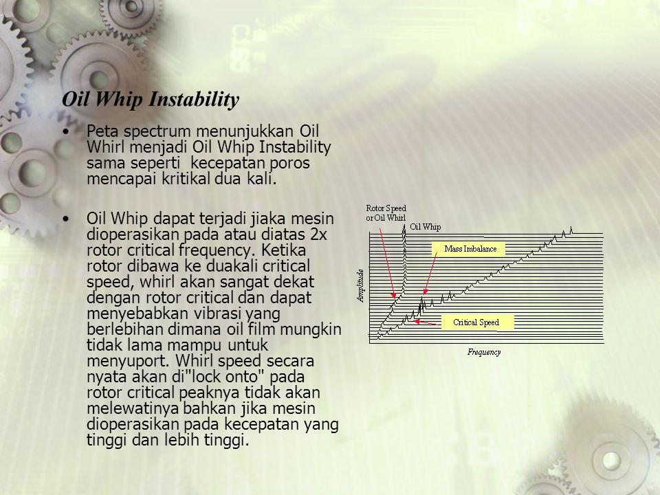 Peta spectrum menunjukkan Oil Whirl menjadi Oil Whip Instability sama seperti kecepatan poros mencapai kritikal dua kali. Oil Whip dapat terjadi jiaka