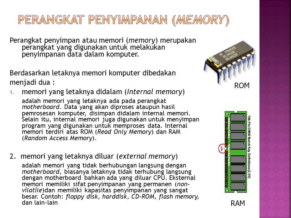 Perangkat penyimpan atau memori (memory) merupakan perangkat yang digunakan untuk melakukan penyimpanan data dalam komputer. Berdasarkan letaknya memo