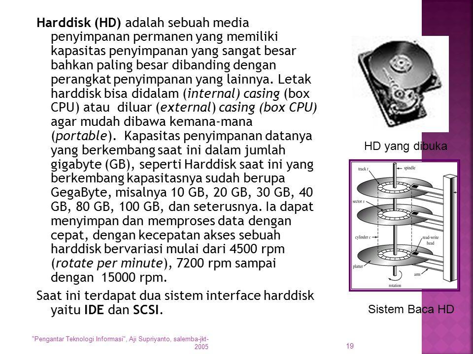Harddisk (HD) adalah sebuah media penyimpanan permanen yang memiliki kapasitas penyimpanan yang sangat besar bahkan paling besar dibanding dengan pera
