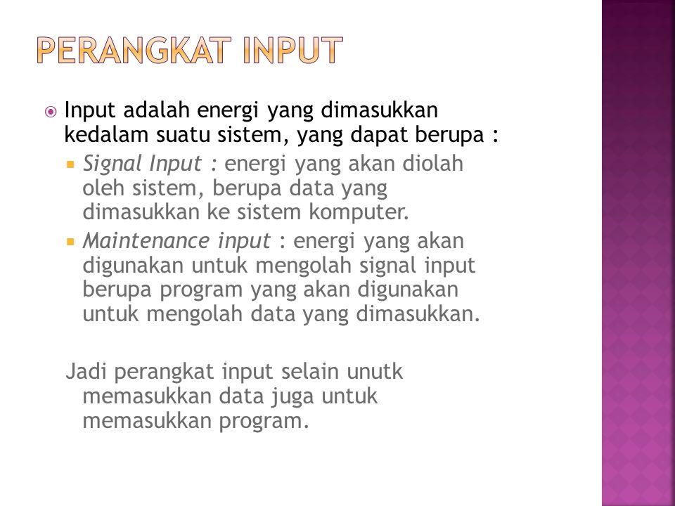Perangkat input dapat digolongkan menjadi dua golongan :  Perangkat input langsung input yang dimasukkan langsung diproses oleh CPU, tanpa melalui media lain.