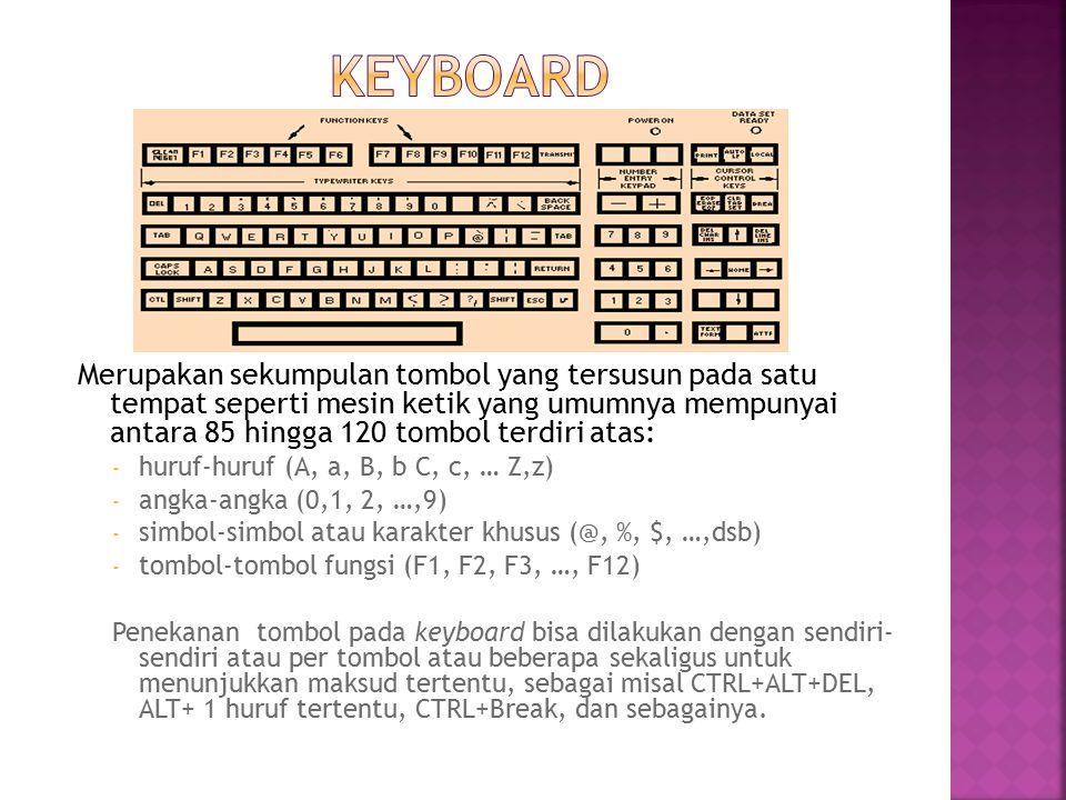 Merupakan sekumpulan tombol yang tersusun pada satu tempat seperti mesin ketik yang umumnya mempunyai antara 85 hingga 120 tombol terdiri atas: - huru