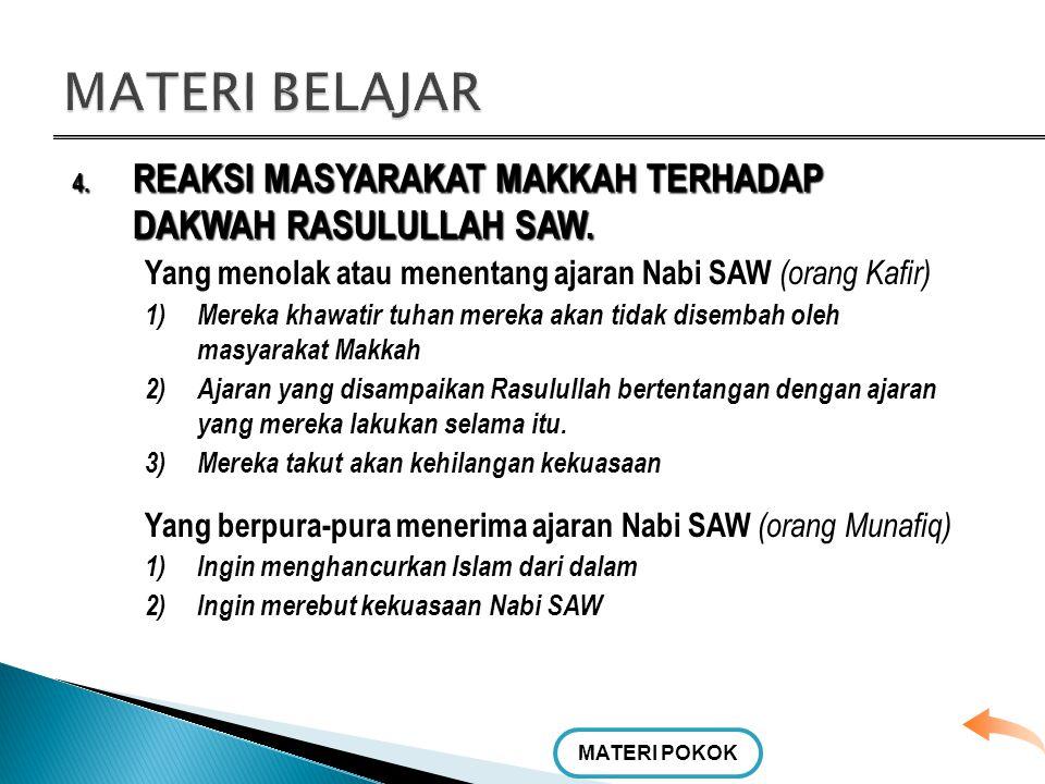 4. REAKSI MASYARAKAT MAKKAH TERHADAP DAKWAH RASULULLAH SAW. Alasan orang-orang yang menerima ajaran Nabi SAW (orang Islam) a.Mereka meyakini bahwa apa