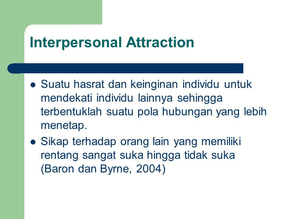 Suatu hasrat dan keinginan individu untuk mendekati individu lainnya sehingga terbentuklah suatu pola hubungan yang lebih menetap.
